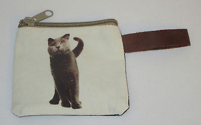 "Gray Cat Coin Purse Leather Strap New Zippered 4"" Long Cats British Shorthair"