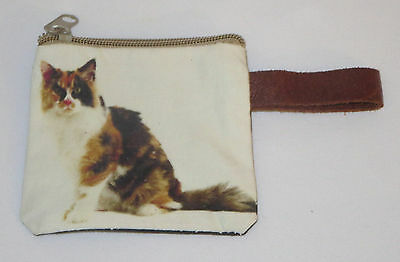 "Calico Cat Coin Purse Leather Strap New Zippered 4"" Long Cats Pets"