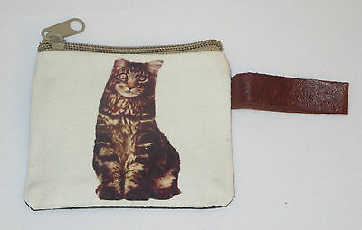 "Striped Cat Coin Purse Leather Strap New Zippered 4"" Long Cats Pets Tabby"