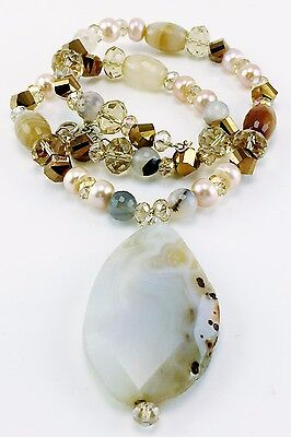 Vintage Heavy Chunky Crystal & Gemstone Necklace Pendant Pearls Sterling Silver