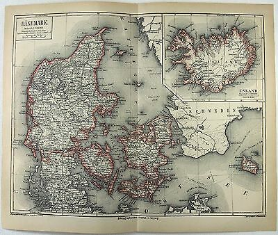 Original 1875 Map of Denmark by Meyers