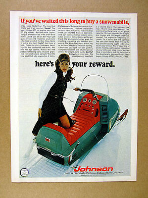 1970 Johnson Skee-Horse Wide-Trac 30 Snowmobile color photo vintage print Ad