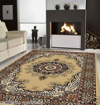 SIRI RUG PERSIAN 6400 BEIGE Traditional Large Floor Mat Carpet FREE DELIVERY*