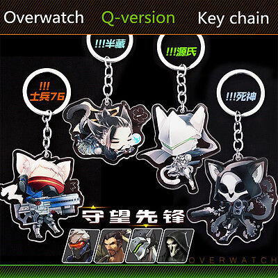 Overwatch Keychains Key Ring Pendant Accessories Double Sided Acrylic SOLDIER:76