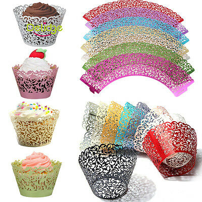 50pcs Filigree Vine  Lace Cupcake Wrappers Cases Laser Cut Box Wedding Cake Gift
