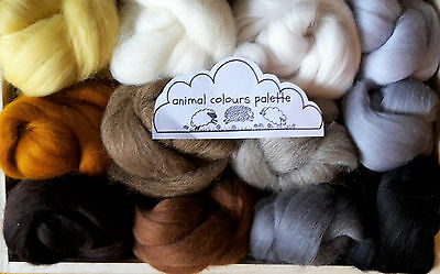 12 animal colours Merino & Shetland Wool roving/ tops / needle felting, 60g