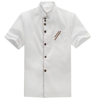 Short Sleeves White Hotel Chef Jacket Restaurant Cook Clothes Uniform XXXL
