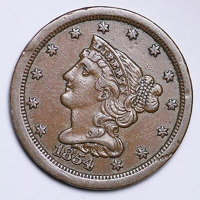 1854 Braided Hair Half Cent CHOICE AU FREE SHIPPING E104 TLT