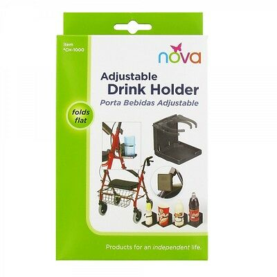 NOVA Adjustable Drink Cup Holder for Walkers & Wheelchairs (or Baby Strollers)