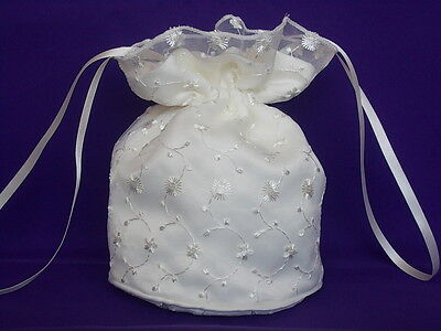 Ivory satin and embroidered organza dolly bag for brides/ bridesmaids/ prom