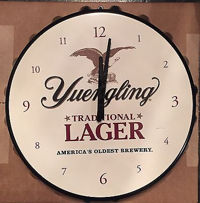 "Yuengling Traditional Lager Bottle Cap Beer Clock Sign 18"" - Brand New In Box"