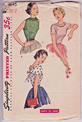 """4645 SIMPLICITY c.1954 - Fitted BLOUSE w Low V-back - Sz 13 B 31"""""""