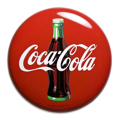 Coca-Cola Contour Bottle Metal Button Sign Vintage Style Reproduction 16 in.