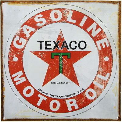 Texaco Gasoline Motor Oil Distressed Metal Sign Vintage Garage Decor 12 x 12