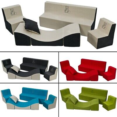 Soft Foam Furniture Embroidery Set:2xChair+Sofa+Coach for Children,Comfy,Relax