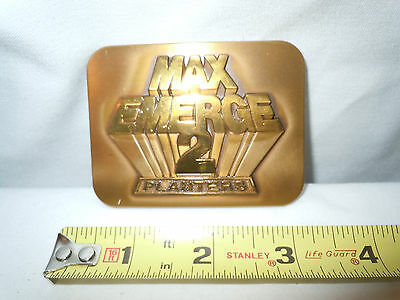 John Deere Max Emerge 2 Planters Brass Belt Buckle   Mint Condition