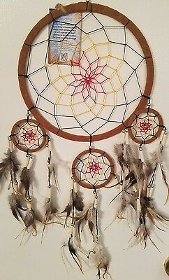 DREAMCATCHER Brown - IVORY BEAD W/FEATHERS  LARGE