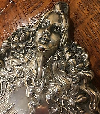 Unger Brothers Sterling Silver Rare Figural Lady Seashell Nautical Theme Tray
