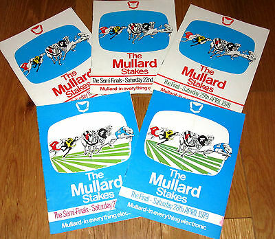 NOW ONLY 99p EACH FOR 5 x Mullard Stakes Greyhound Racecards @ White City London