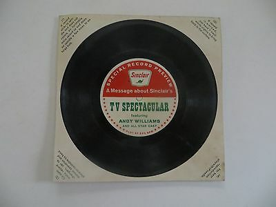 Vintage Rare Sinclair promo 331/3 RPM Andy Williams Advertising Record Gas & Oil