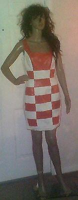 Vtg 90's Large Stretch Cache White Orange Checkered Racecar Party Dress Cocktail