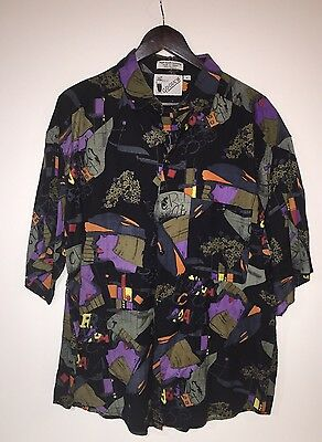 Goouch Men's Abstract Short Sleeve Shirt - Large 100% Rayon