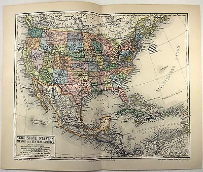 Original 1890 Map of the USA, Mexico & Central America by Meyers