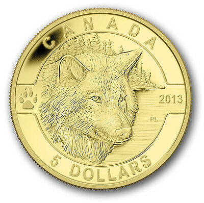 1/10 oz Pure Gold Coin - The Wolf - Mintage: 4000 (2013)   5 Dollars