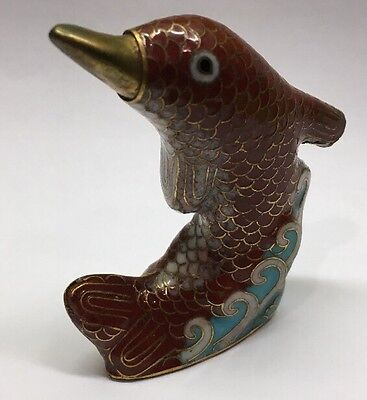 "2.6"" Old Fine Chinese Cloisonne Copper Dynasty Dolphin / Fish Animal Figurine #2"