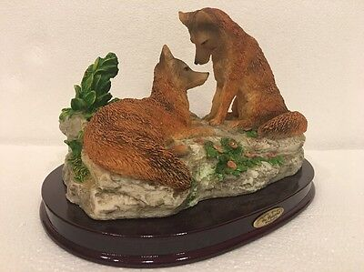 "2 Red Fox Natural Wildlife Figurine Sculpture Wood Base 9x7"" Juliana Collection"