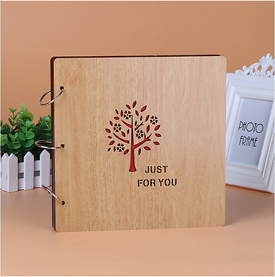 DIY 30Pg 26.9x26.4cm BE Wood Cover 3Rings Photo Album Wedding Scrapbook JUSTFORU