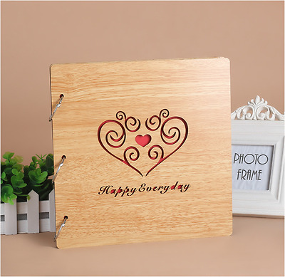 DIY 30Pg 26.9x26.4cm BE Wood Cover 3Ring Photo Album Wedding Scrapbook HAPPYFORE