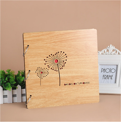 DIY 30Pg 26.9x26.4cm BE Wood Cover 3Ring Photo Album Wedding Scrapbook DANDELION
