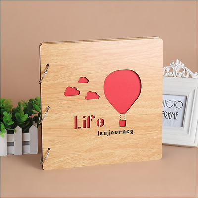 DIY 30Pg 26.9x26.4cm BE Wood Cover 3Rings Photo Album Wedding Scrapbook BALLOON