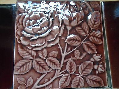 2 Antique Victorian Reclaimed Rose Pattern Fireplace Tiles 6 x 6 and 4 Flats
