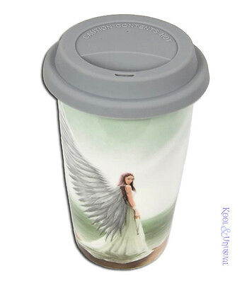 "Anne Stokes Ceramic Travel Mug Keep Cup with Lid: ""Spirit Guide"" Angel"