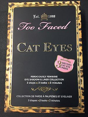 Too Faced Cat Eyes Eyeshadow Palette w/ 3 wet/dry liners & Melted Lipstick NIB