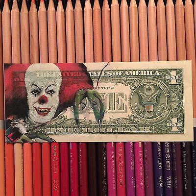 Pennywise IT $2 Hobo Dollar One Two Dollar Bill Original Art Real Money