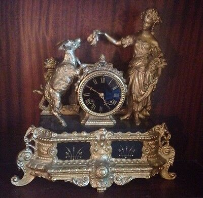 Vincenti & Cie Large French Gold Antique C1800 Wind Up Rococo Mantel Clock