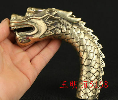 Gothic Chinese Old Bronze Hand Carved Dragon Collect Statue Cane Walking Stick