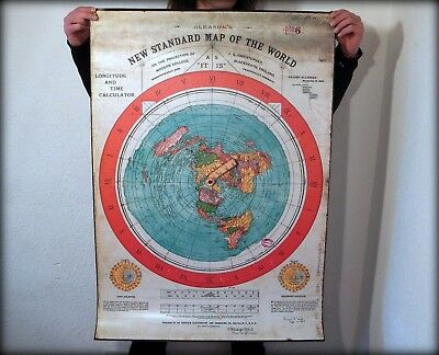 Flat Earth PVC Poster Prints GLEASON'S NEW STANDARD MAP OF WORLD 1892 (102x71cm)