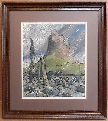 Holy Island, Original Pastel drawing by listed artist Brian Phillips, 1992