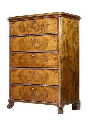 19Th Century Walnut Tall Chest Of Drawers
