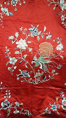 Superb 140 Cm Antique 19Th Century Chinese Silk Embroidery / Stitch Work Cover