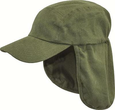 Highlander Green Cotton Legionnaires Sun Hat With Neck Flap  Sun Burn Protection