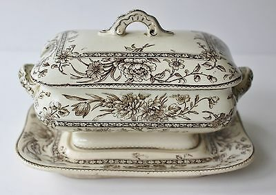 DOULTON Burslem Oxford Brown Mini TUREEN Antique Transferware 3pc Lid Underplate