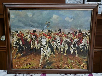 Charge of the Scots Greys at Waterloo Framed Canvas