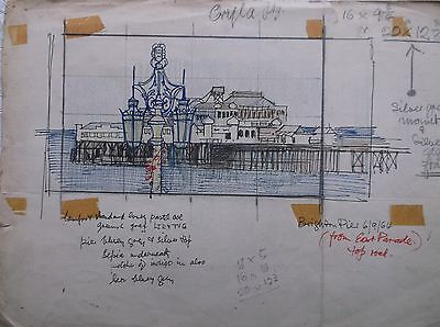 COLOURED GRAPHITE DRAWING by FREDERICK GEORGE WILLS 1901-1993 R.I. BRIGHTON PIER