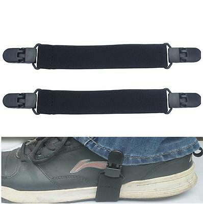 NEW 2pc Elastic Motorcycle Biker Trouser Ends Boot Straps Clips USA STOCK