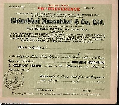 India 1950's Chinubhai Naranbhai & co. Preferance Share Certificate 2nd Issue